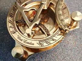 Solid brass sundial compass nautical