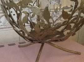 Brass Candle holder ( floral Leaves ) gold painted Vintage Art .