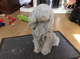 Concrete King Charles dog garden ornament