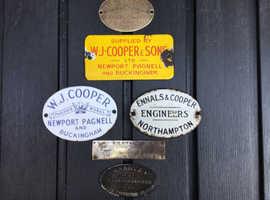 Enamel and Brass Farm Machinery Name Plates