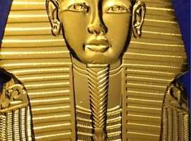 King Tutankhamen Egypt 24ct Gold Plated Coin 1 Piaster Hieroglyphics Ingot.