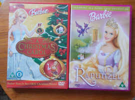 2 BARBIE DVDS A CHRISTMAS CAROL AND RAPUNZEL FAIRYTALE RATED U BOTH IN VERY GOOD