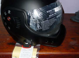 roof boxer helmet v8 full black new in the box with labels.