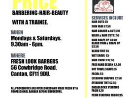 Half price Barbers services and beauty in Canton, Cardiff.