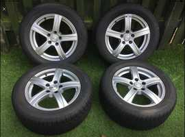 """Set of Four 16"""" Alloy Wheels complete With Winter Tyres"""
