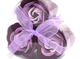 SOAP FLOWERS IN HEART SHAPED BOX - LAVENDER ROSES