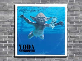 STAR WARS - NIRVANA PARODY ART - Yoda Mind Never - 50cm x 50cm 100% cotton framed hand varnished canvas print ready to hang
