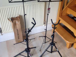 3 Saxophone and 2 sheet music stands (As New)