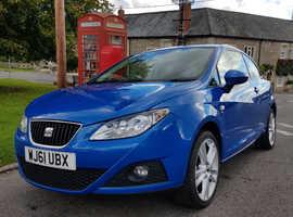 LOW MILEAGE 22k! Seat Ibiza, 2011 (61) Blue Hatchback, Manual Petrol, 22,143 miles