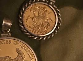 1937 George V half sovereign coin in sterling silver bezel