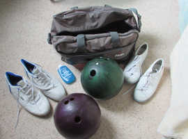 Ten pin bowling balls, bag and shoes.