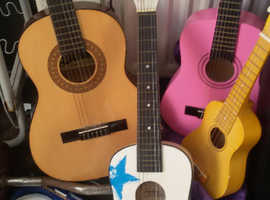 3 chids accoustics 1 large all stringed