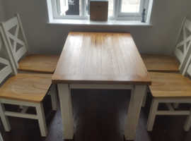 Cuisine Oak And Rustic Painted Table And 4 Chairs