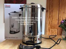 SWAN 20L Urn, hot water boiler, keep warm, tap, 80 cups