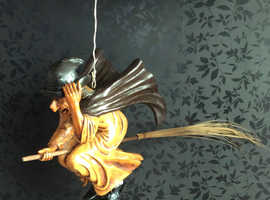 RARE, large ceiling flying witch on broomstick. Halloween, Pagan etc.