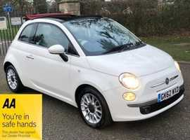 Fiat 500, 2012 (62) white convertible, Manual Petrol, 36,000 miles