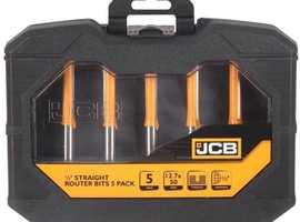 JCB 12.7mm Shank Straight Router Bit, Pack of 5