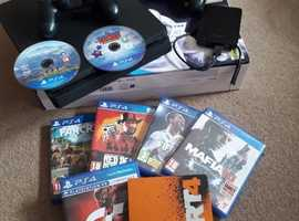 PLAYSTATION 4 500GB + 1TB EXTERNAL DRIVE, 2 CONTROLLERS, BOXED + MANY GAMES