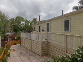 Private lodge for sale at Beauport Park, Hastings. 2 bedrooms, big decking