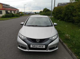 Honda Civic, 2012 (12) Silver Hatchback, Manual Diesel, 90,500 miles