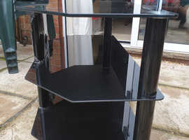 Black Glass TV stand with two middle shelves