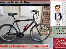 Budweiser Mountain Bike. 18 speed. 26 inch wheels.