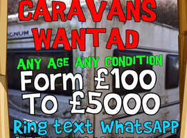 CARAVANS WANTED in Sussex Surrey Kent Hampshire