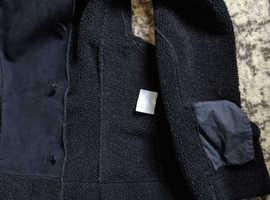 PER UNA BODY WARMER GILET BLACK FLEECE FAUX SUEDE L LARGE SLEEVELESS 2 POCKETS