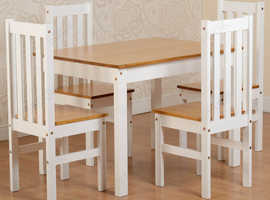 White and Oak Dining table and 4 Chairs
