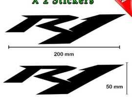 2 x Yamaha R1 Stickers/decals in Black Vinyl Super Bike Motorcycle Sticker