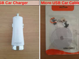 Double USB Car charger + Micro USB Cable.