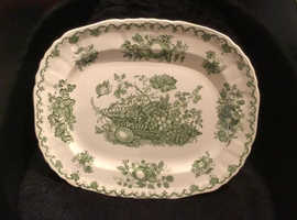 Vintage Mason's ironstone meat platter. Fruit Basket design, green and white