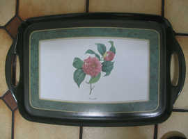 CLOVERLEAF TRAY CAMELLIA FLOWER 19X12 INS OVERALL HEAT & STAIN RESISTANT GOOD CO