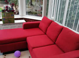 Red settee left or right hand chaise.