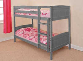 Robin Grey Wooden Pine Single Bunk Bed