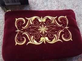 New Torzhok Women's Velvet Cosmetics Bag, Gold Thread Needle Work - Certificated