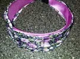 Crinkle Satin Lilac Band with Floral Print.