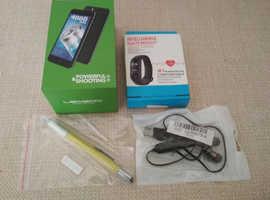 "Unlocked 5"" HD Black 2/16 GB 2 SIM/CAM 4000mAh +SMART Watch+Wireless Headphone +6n1"