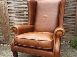 John Lewis brown leather Armchair