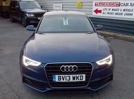 2013/13 Audi A5 2.0 TDi S-Line Sportback finished in Scuba Blue Metallic., 77,503 miles