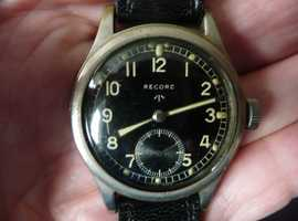 Military WW2 Record Black Dial Wristwatch, Highly Collectable.