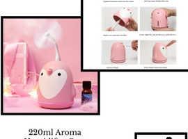 220ml Aroma Humidifier Cute Penguin USB Air Diffuser pink