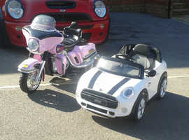 white ride on mini and pink Harley both 36v