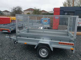 BRAND NEW MODEL 8.7 X 4.2 SINGLE AXLE TRAILER WITH 80CM MESH AND MANUAL TIPPING FEATURE