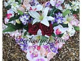 Funeral flowers, floral tributes, wreaths and lettering DAD, MUM, SISTER, WIFE, HUSBAND etc