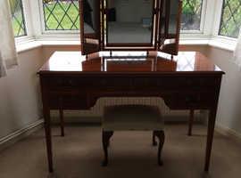 Bradley antique dressing table/writing desk, triple mirror, headboard.