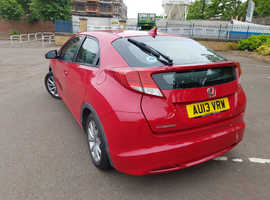 Honda Civic, 2013 (13) Red Hatchback, Manual Petrol, 77,000 miles