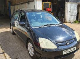 Honda Civic, 2002 (52) Black Hatchback, Manual Petrol, 72,000 miles