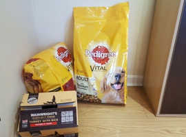 Dog food (dry for adult, and wet for senior, both around 35kg)