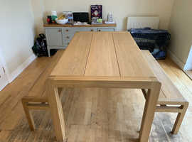 Habitat Radius Dining Table with 2 Matching Benches